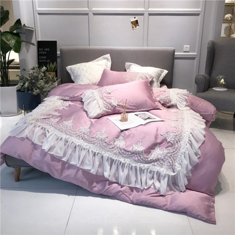 US $129.0 34% OFF|Pink Romantic Princess Style Exquisite Lace Embroidery  80S Fine Tencel Bedding Set Duvet Cover Bed Linen Bed sheet Pillowcases-in  ...
