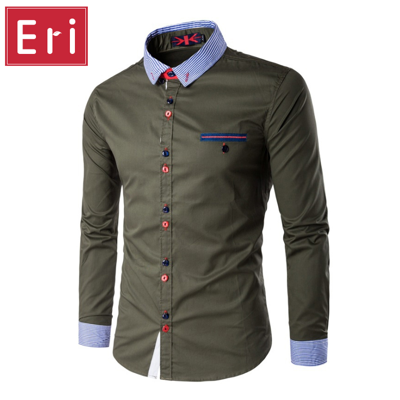Fashion Mens Dress Shirts Slim Fit Casual Shirt Men Unique ...
