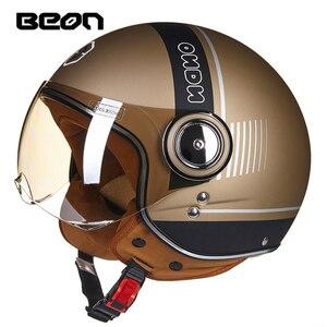 Image 1 - BEON casco de moto rcycle, scooter Vintage, máscara Retro abierta, casco de carreras para montar, homologado según la bandera de Italia ECE, moto Go kart casco