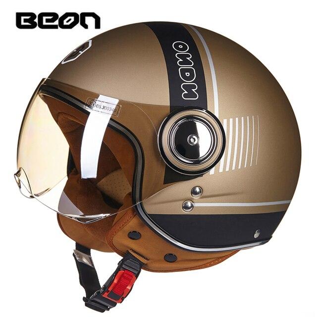 BEON casco de moto rcycle, scooter Vintage, máscara Retro abierta, casco de carreras para montar, homologado según la bandera de Italia ECE, moto Go kart casco