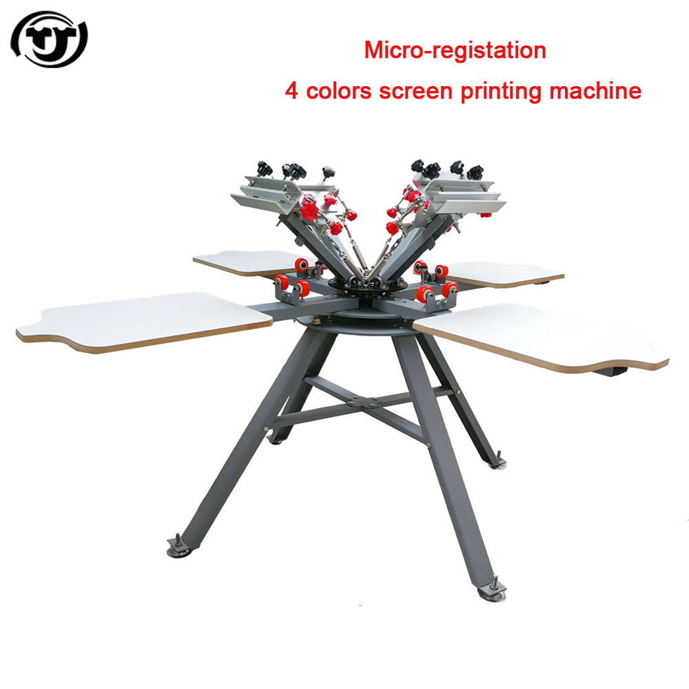 Micro-registration Manual 4 Color 4 Station t shirts screen printing machine hot sales new style 468 colors carousel screen printing machine for t shirts