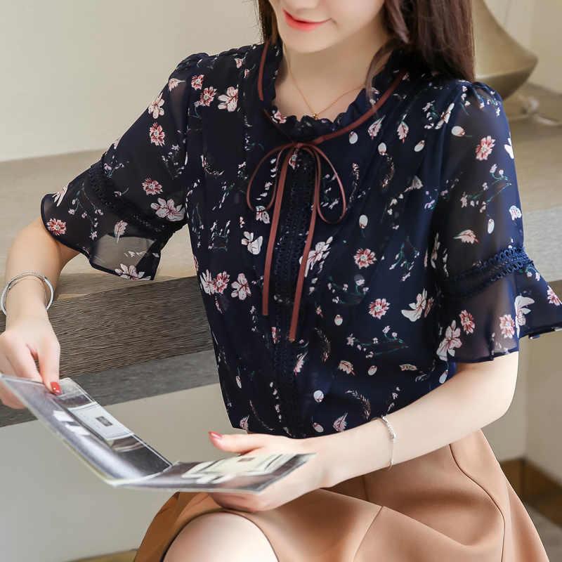 الصيف بلوزة للنساء 2019 زائد حجم النساء قمم طباعة بلوزة شيفون النساء قصيرة الأكمام قمصان إمرأة قمم و البلوزات 4564 50