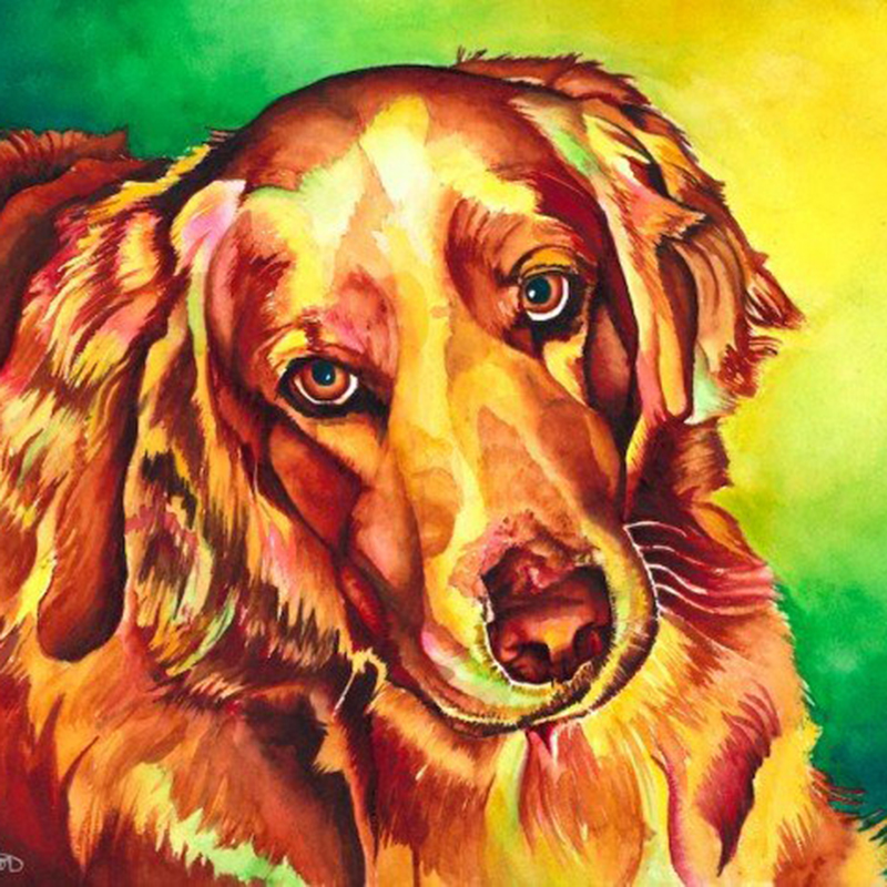 100% Full 5D Diy Daimond Painting Cartoon Dog 3D Diamond Painting Round Rhinestones Diamant Painting Embroidery Animals