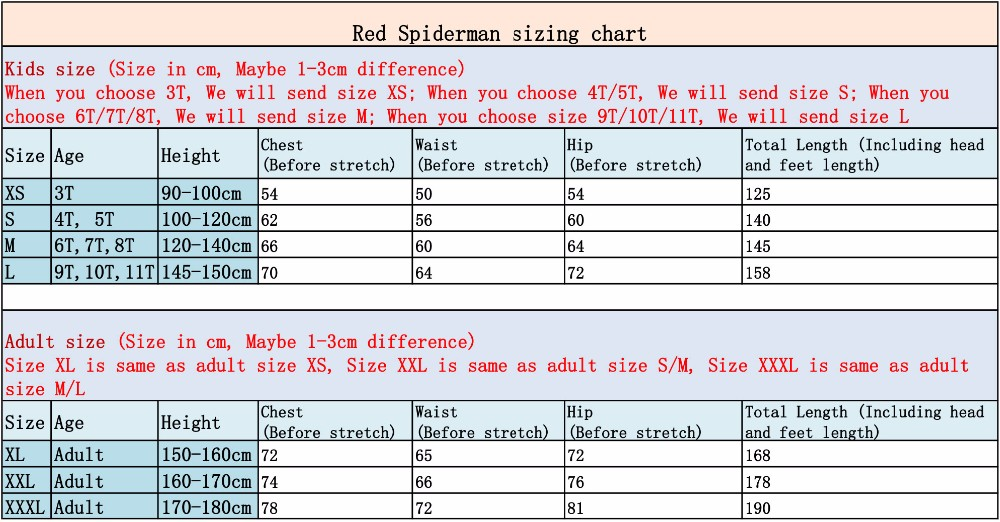 Red spiderman sizing chart