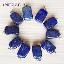 fashion natural stone Square Lapis lazuli pendants Necklace charms jewelry making accessories 24Pcs/lot Free shipping wholesale