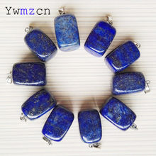 fashion natural stone Square Lapis lazuli pendants Necklace charms jewelry making accessories 24Pcs/lot Free shipping wholesale(China)