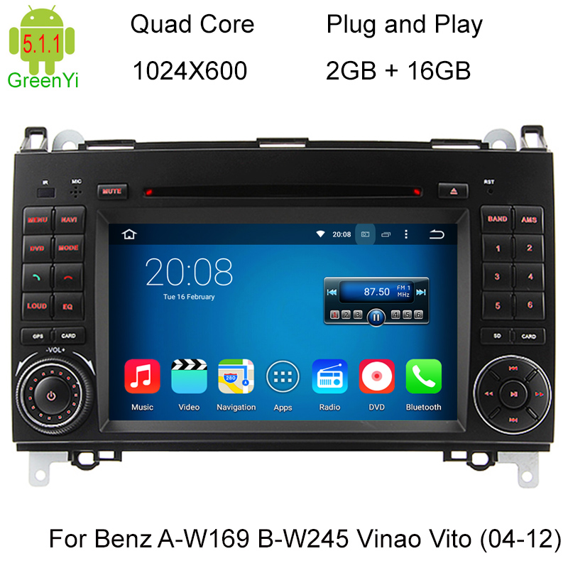 1024X600 Android 5.1 Quad Core 4 Car DVD For Mercedes Benz Sprinter W169 W245 W906 Viano Vito W639 3G WIFI GPS Navigation Radio
