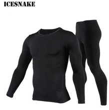 ICESNAKE Men s Fleece Lined Thermal Underwear Set Motorcycle Skiing Base Layer Winter Warm Long Johns