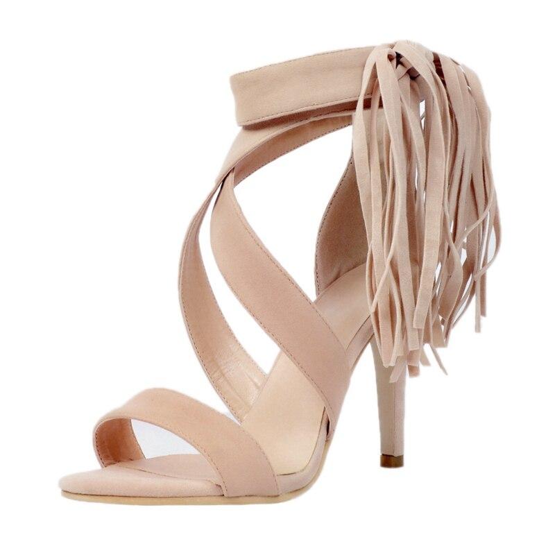ФОТО Beige Ankle Wrap Tassel Women Sandals Open Toe High Heels Summer Shoes Ladies 2017 Gladiator Women Fashion Shoes