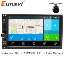 Eunavi Универсальный двойной 2 DIN Android 6.0 автомобиль Радио 4 ядра 7 дюймов 2din автомобиля GPS навигации для Nissan с Wi-Fi стерео BT RDS