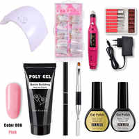 30g Acrylic Poly Gel Set For Manicure Gel Varnish Poly Gel Builder Nail Art Kit 36W UV Lamp Nail Dryer Extension Tools
