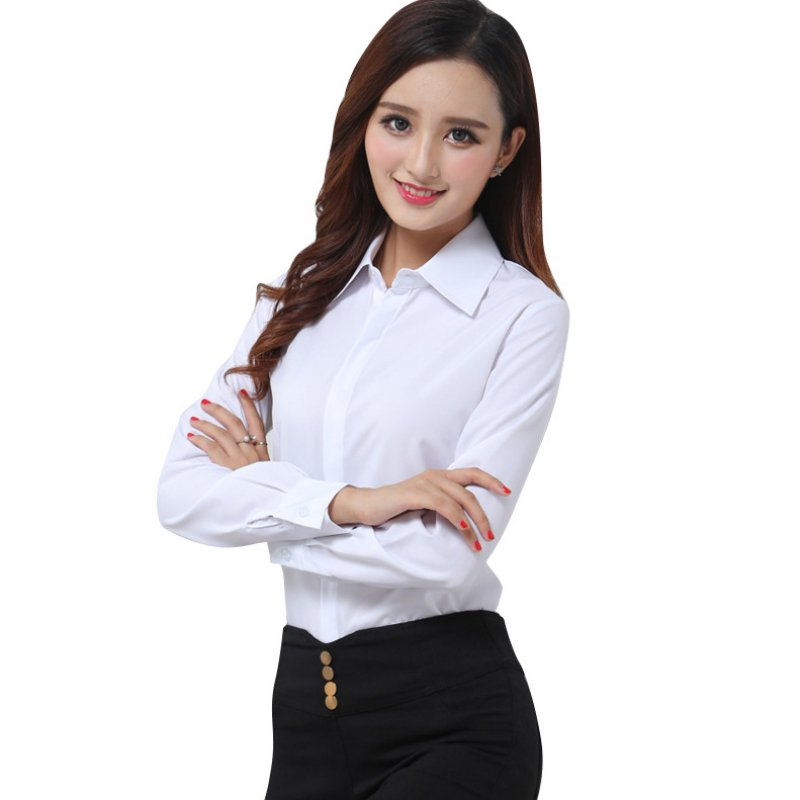 elinkmall Lady Career White Shirt Women Work Wear Long Sleeve Tops Slim Women's Casual Blouses