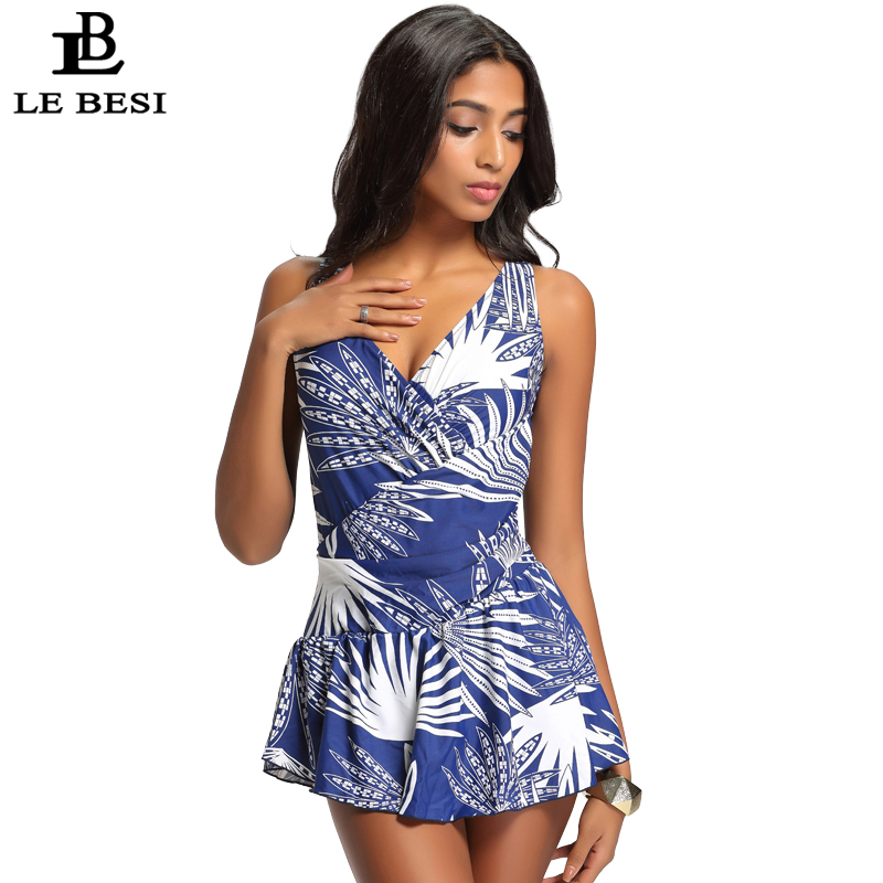 LEBESI 2017 New One Piece Swimsuit Womens Plus Size Skirt Swimwear Vintage Bodysuit Print Flowers Bathingsuit Beachwear 48-56
