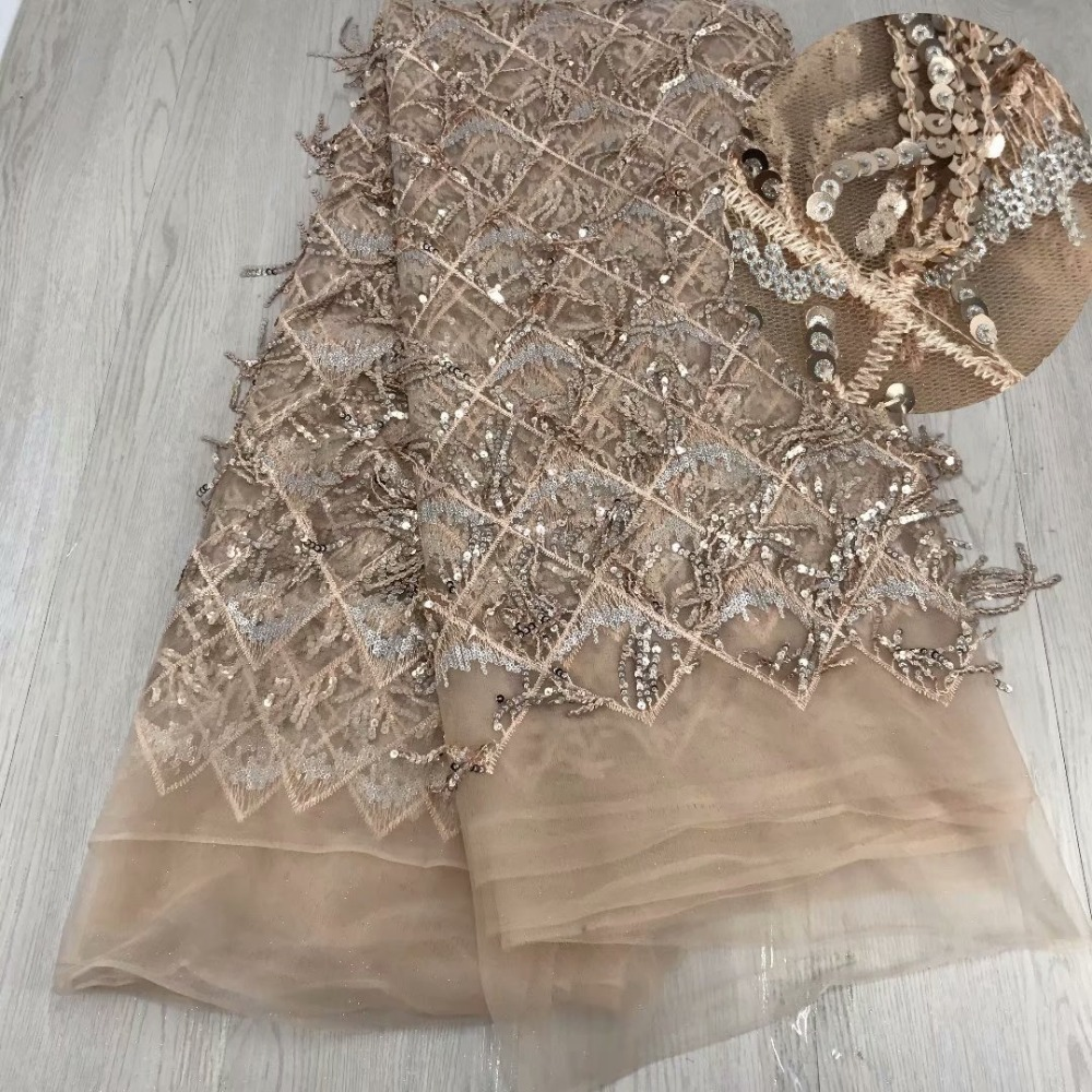French net lace fabric with sequin African Lace Fabric 5yards luxury design Tassel Sequins Lace Fabric