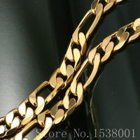 Мужские Аксессуары Мода Желтого Золота Заполненные Фигаро Цепи Ожерелье для Мужчин