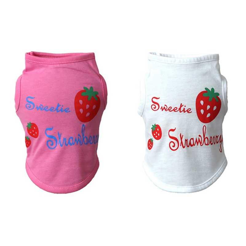 Повседневная розовая футболка для собак, хлопковые жилеты, одежда для щенков, износостойкая футболка с клубничным узором для щенков