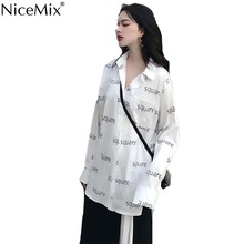 NiceMix Spring Chic White Shirt Women Blouse Print Square Casual Harajuku Tops And OL Shirts Blusas Camisas Mujer 2019