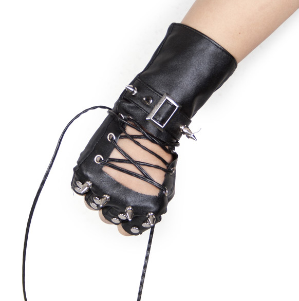 Punk Men Women Unisex Black PU Leather Gloves Rivet Metal Decoration Cross Rope Fashion For Party Cosplay Waist Gloves