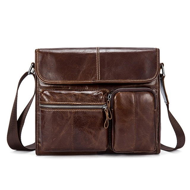Genuine Leather Men's Bag Casual Crossbody Bags Flap Messenger Bags Shoulder Bag Handbag For Men