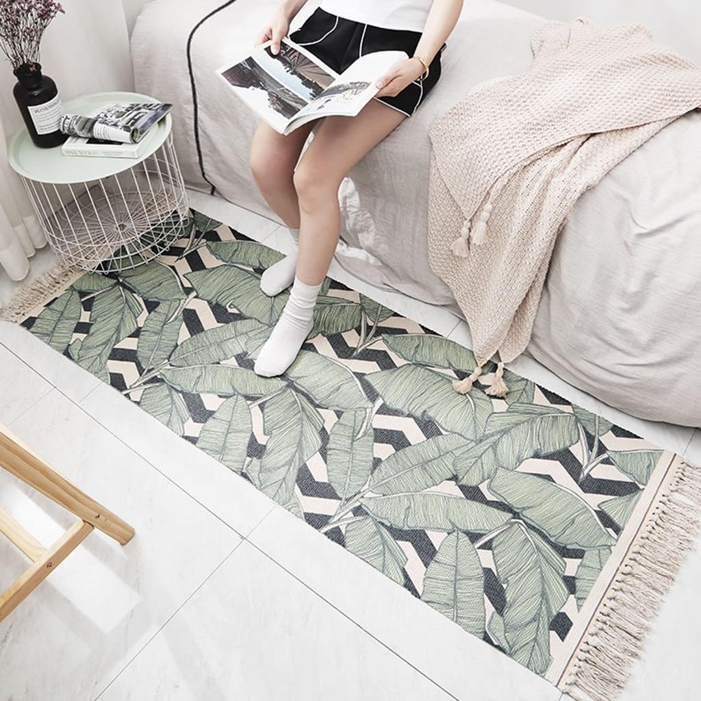 Géométrique résistant à l'usure pur coton tissé gland antidérapant tapis chambre salon tapis de sol tapis de salle de bain absorber l'eau