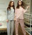 Lisacmvpnel Autumn New Cotton Striped Long Sleeve Women Pajamas Goggles+Pajama set Loose Women Casual Sleepwear