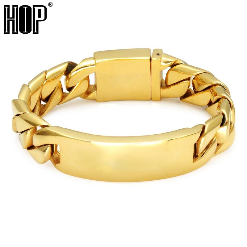 HIP Hop Gold Color Curb Cuban Link Chain Bracelet 21*1.7CM Heavy Rock 316L Stainless Steel Bracelets For Men Jewelry 8mm 10mm 12mm 14mm stainless steel curb cuban link chain hip hop punk heavy gold silver plated cuban necklace for men