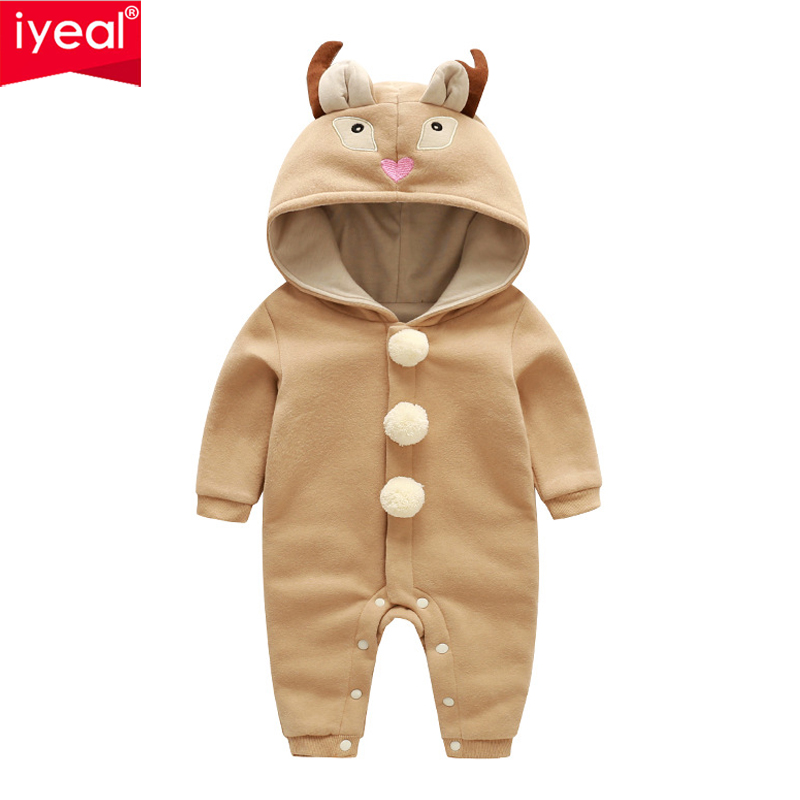 IYEAL New Spring Autumn Baby Clothes Cute Hooded Cartoon Animal Baby Boy Clothing Cotton Kids Toddler Jumpsuit Baby Girl Rompers iyeal newborn winter clothes cotton padded baby clothing long sleeve hooded animal baby girl boy romper cartoon warm jumpsuit