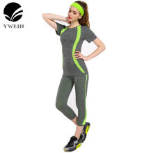 YWBIN Women sport sets two-piece suit fitness clothing yoga sets running Dry Quick suit Compression Jogging Breathable T-shirts