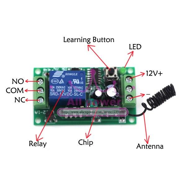 3T4R DC 12v Relay Wireless Remote Control RF Switch Onoff Switch