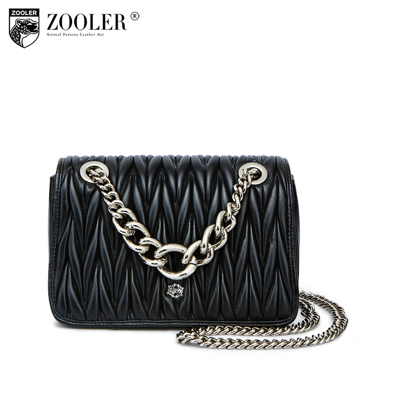 presell-ZOOLER luxury chain genuine leather bag woman shoulder bags Magnetic buckle designed sheepskin cross body top quality B lipstick chain cross body bag