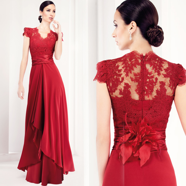 740dee3cb964 Elegant Cap Sleeves Dark Red Mother of the Bride Lace Dresses Long Mother  Groom Evening Gowns