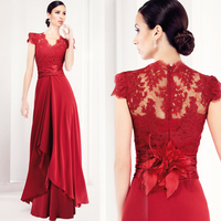 Elegant Cap Sleeves Dark Red Mother of the Bride Lace Dresses Long Mother Groom Evening Gowns Godmother Dress 2019 Sexy