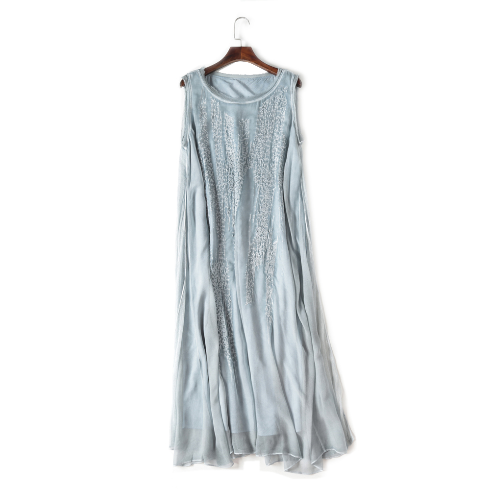 Sales Natural Silk Ladies Dot Embroidery Women Dress Luxury Silk Women Sleeveless Mid-Calf Length O-Neck Female Summer Dress XL