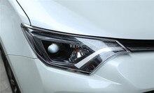 Chrome спереди и сзади крышка головки свет лампы отделки фар литья гарнир Surround рамка для Toyota RAV4 2016 2017 2018