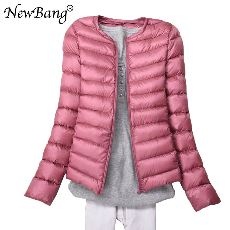 NewBang Brand Ultra Light   Down   Jacket Collarless   Coat   With Zipper Woman Feather Outwear Jacket Women Slim Female Windbreaker
