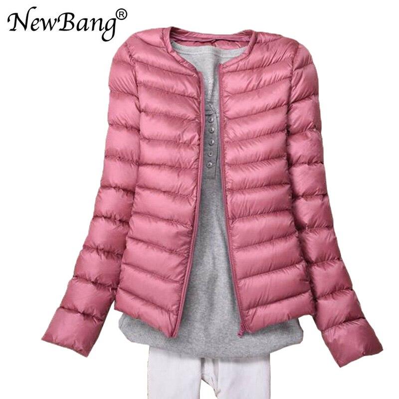 NewBang Ultra Light Down Jacket Collarless Coat With Zipper Woman Feather Outwear Jacket Women Slim Female Windbreaker
