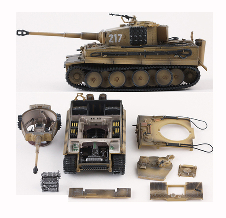 Fine  1:72  German Tiger Tank Model  With Internal Structure  Tiger 1 Medium-term 217  Finished Product Model