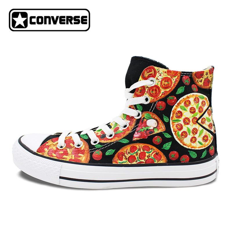 цена на Converse Original Hand Painted PIZZA Shoes Sneakers Canvas Flats Men Women Skateboarding Shoes Brand Design All Star