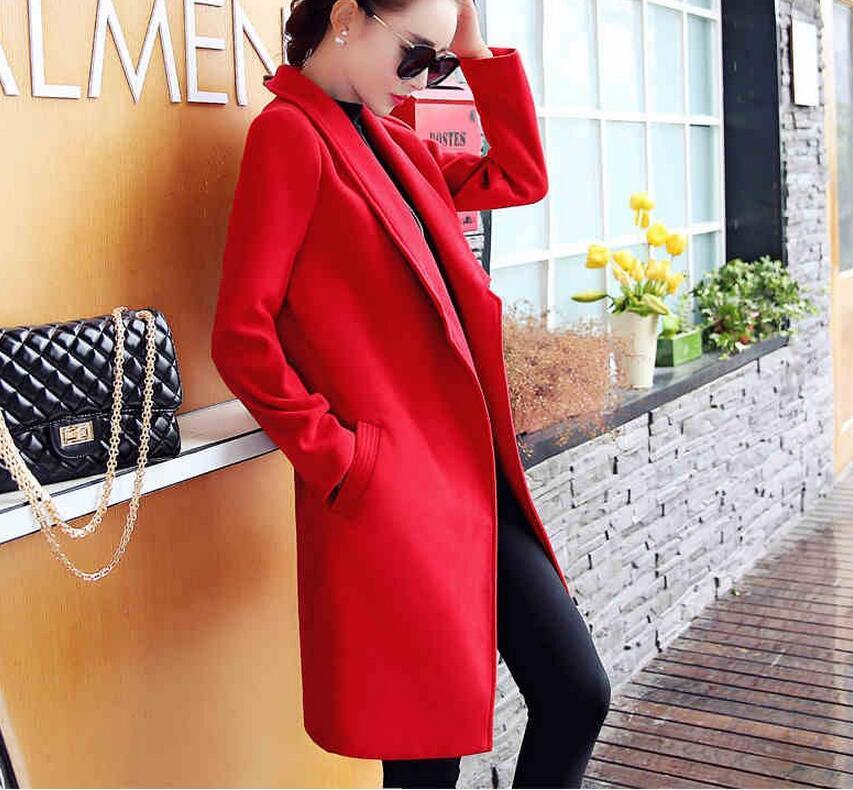 Mode L763 Manteau Élégante Femelle Pardessus Femmes Red Mince Laine gray Manteaux Gris Long 2016 Dames Beige Coréenne Rouge EECZFxwHq