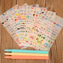 Dinghan adesivos de desenhos animados 6 folhas, adesivos bonitos de papel para diário, scrapbook, decoração de parede