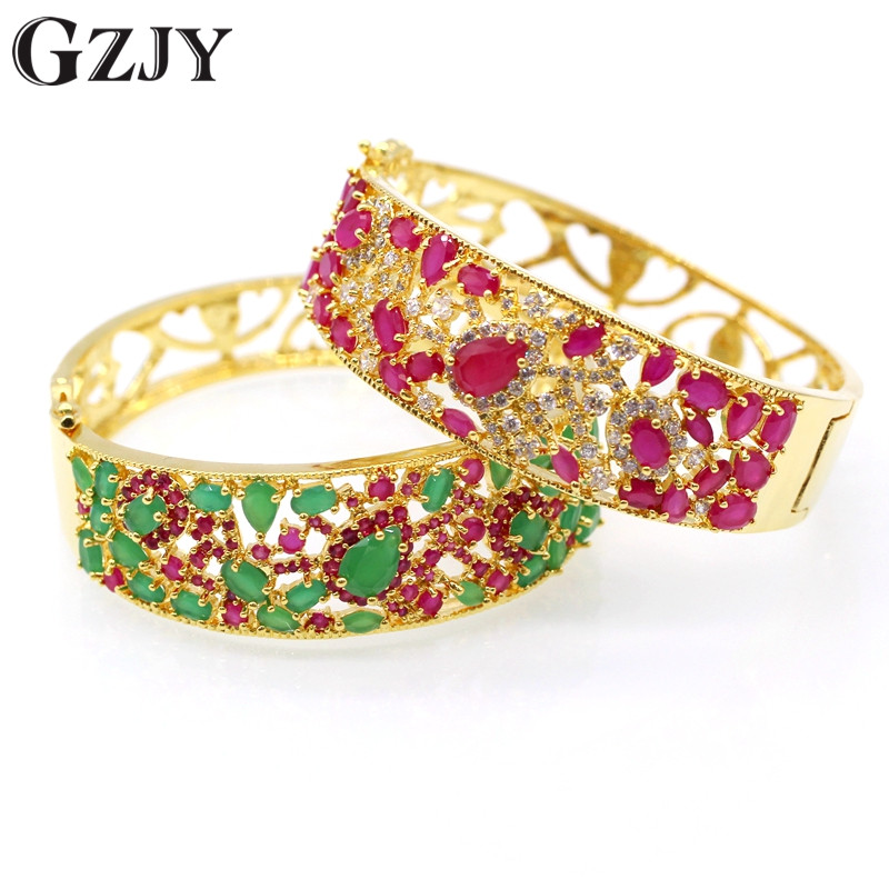 JINYAO Charm Red Green Zircon Bracelets Vintage Jewelry Yellow Pure Gold Color Bracelet Bangle For Women D06-2