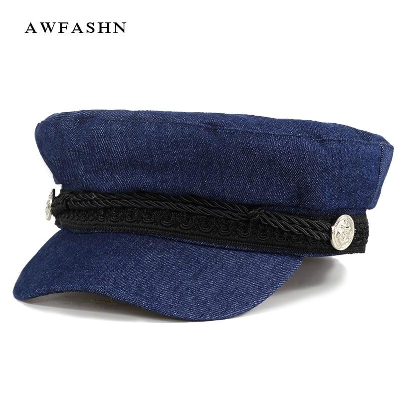 2018 nueva gorra militar de mezclilla Color sólido gorra Plana Alta Calidad  hombre mujer moda Vintage algodón papá sombreros marinero hueso camionero  Azul ... 3da8b7f33480