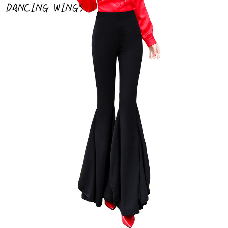 Fashion Women OL Empire Wide Leg   Pants   Trousers Sexy Slim Ruffles Flared   Pants     Capris   Formal Business Summer Women Clothes