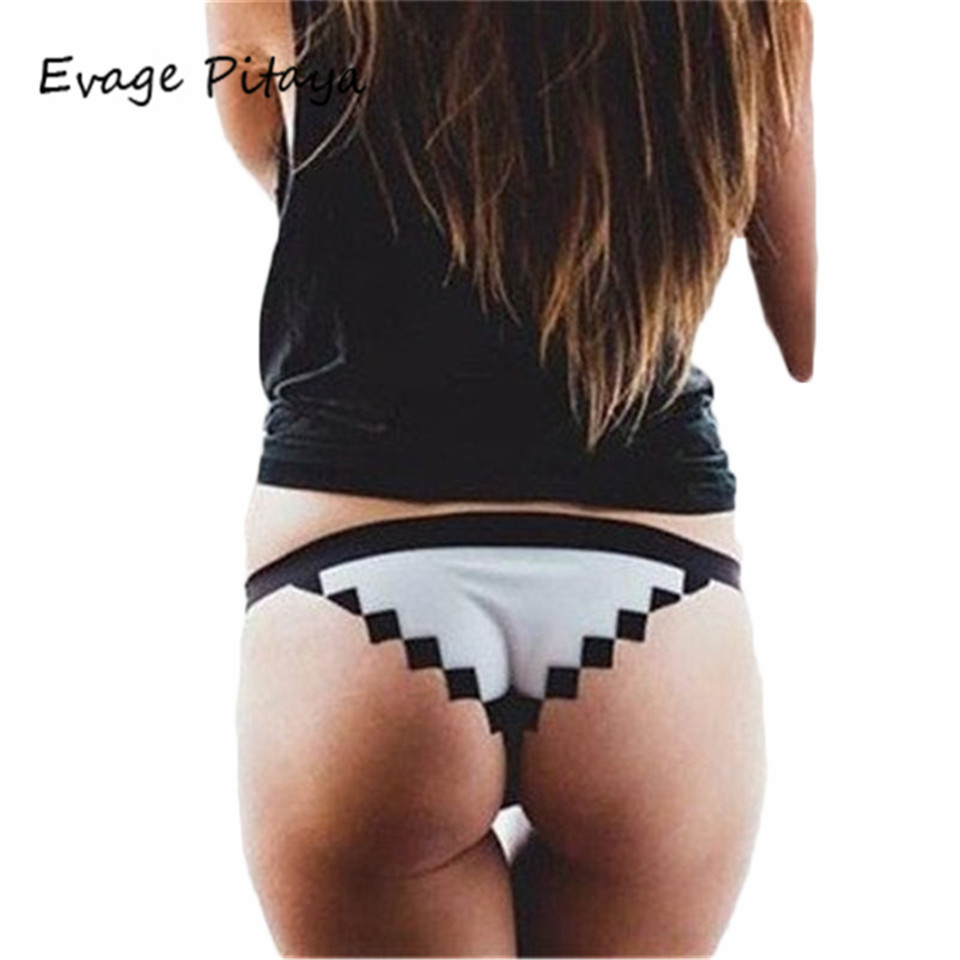 Womens Cute Cartoon Pixels Like Sexy Plaid Underwear Panties Shorts Lingerie bikini bottom 2017 swimsuit shorts
