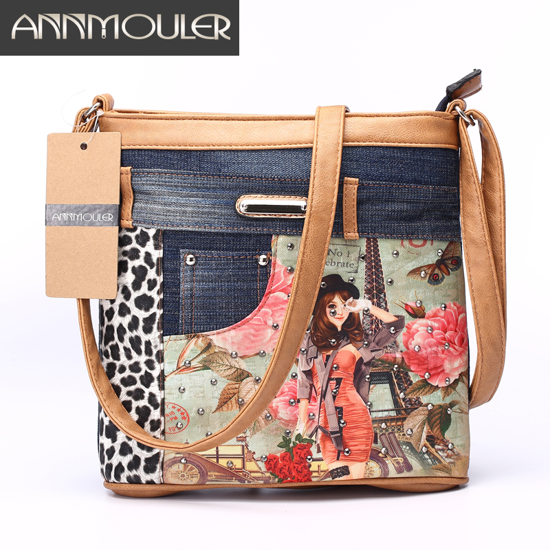 Annmouler Women's Patchwork Axelväskor Brand Denim Messenger Bag 2016 Fashion Crossbody Väska Vintage Eiffel Tower Bag