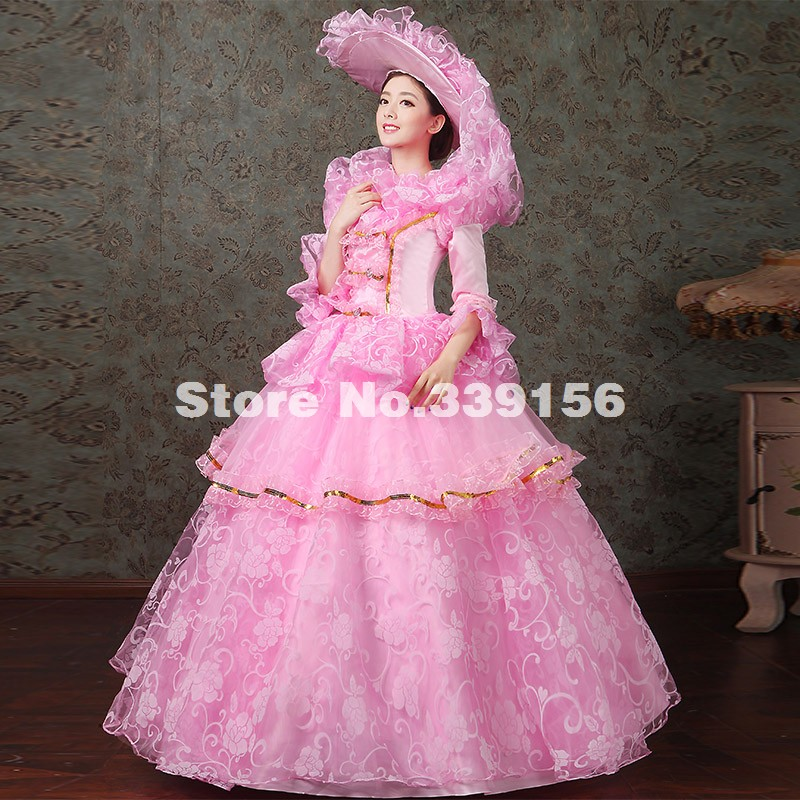 Hot Sale Pink/Green/Blue/Purple Floral Lace Multi-layer Marie Antoinette Gown Elegant Long Party Dress For Women