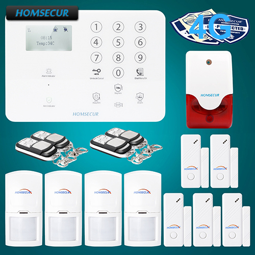 HOMSECUR Wireless&wired 4G/3G/GSM LCD Home Security Alarm System+Touch Panel GA01-4G-W 2 4g wired