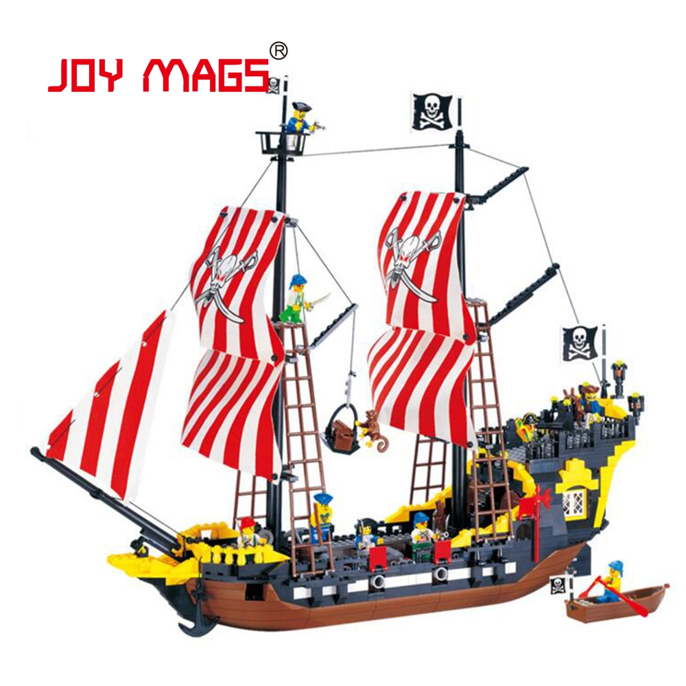 JOY MAGS 308 Pirates Series Black Pearl Model Building Kit Blocks Brick Educational Toy Gift black pearl building blocks kaizi ky87010 pirates of the caribbean ship self locking bricks assembling toys 1184pcs set gift