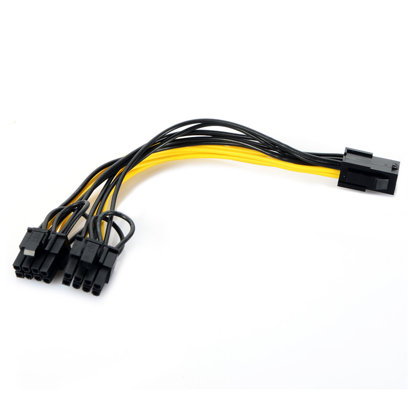 Dependable 21cm Pci-e 6-pin To 2x6+2-pin Power Splitter Cable Pcie Pci 6-pin/8-pin