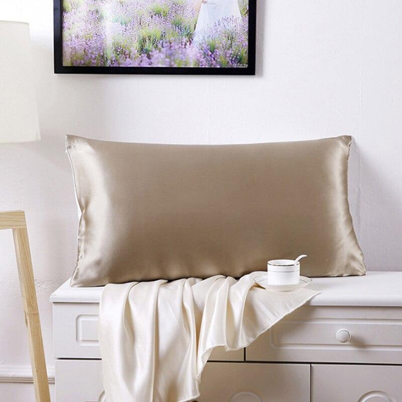 1PC 100% Nature Mulberry Silk Pillowcase Custom Pillow Case Silk Satin Pillowcase for Healthy Standard Queen King Multicolor
